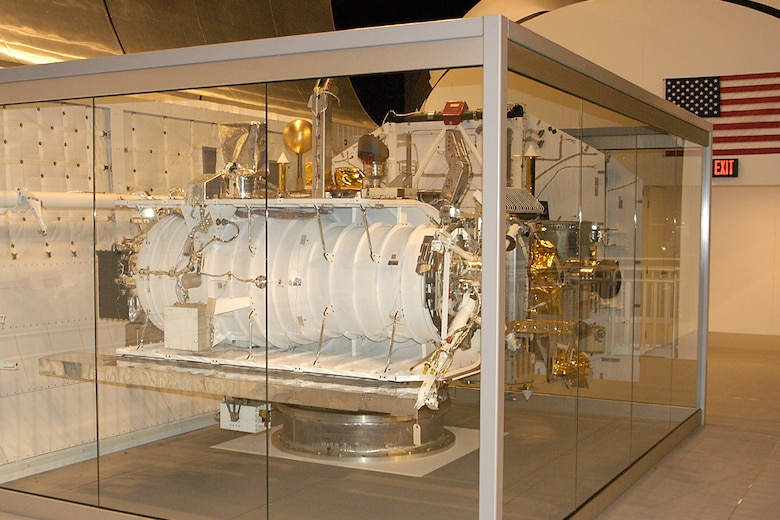This experimental early-warning satellite was code named Teal Ruby. It was designed to test classified sensors to detect enemy aircraft crossing the polar region toward the USA during the Cold War. This would give U.S. forces early warning of nuclear attack. Teal Ruby was to be launched on a space shuttle in the 1980s, but the mission was cancelled. Instead, it became a test-bed for studying how space equipment ages in storage. (U.S. Air Force photo)