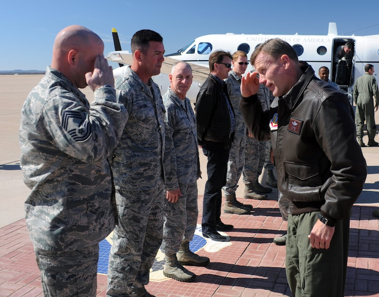 U.S. Air Force Lt. Gen. Tod Wolters, 12th Air Force commander, is greeted by wing leadership Feb. 13, 2014, at Dyess Air Force Base, Texas. During Wolters' visit he toured several of the bases facilities, hosted an all-call, met with Dyess AFB leadership and presided over the 7th Bomb Wing change of command ceremony. (U.S. Air Force photo by Senior Airman Peter Thompson/Released)