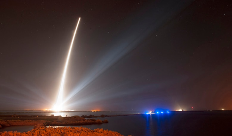 A United Launch Alliance Delta IV rocket successfully launched the Global Positioning System (GPS) IIF-5 satellite for the U.S. Air Force on Feb. 20 at 8:59 p.m. EST from Space Launch Complex-37 at Cape Canaveral Air Force Station, Fla. GPS IIF-5 is the fifth in a series of next generation GPS satellites and will join a worldwide timing and navigation system utilizing 24 satellites in six different planes, with a minimum of four satellites per plane positioned in orbit approximately 11,000 miles above the Earth's surface. (United Launch Alliance/Ben Cooper)