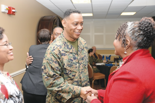 During a recent visit to Marine Corps Logistics Command, Brig. Gen. Craig C. Crenshaw, assistant deputy commandant for Installations and Logistics (Plans), Headquarters Marine Corps, attended the base's Black History Month luncheon at the Town and Country Restaurant, Feb. 11.