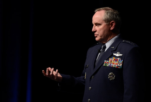 Air Force Chief of Staff Gen. Mark A. Welsh III delivers his keynote speech Feb. 20, 2014, at the 30th Annual AFA Air Warfare Symposium and Technology Exposition in Orlando, Fla. Welsh talked about focusing on the mission, developing and celebrating Airmen, strengthening and embracing partnerships, and living our core values.  (U.S. Air Force photo/Scott M. Ash)