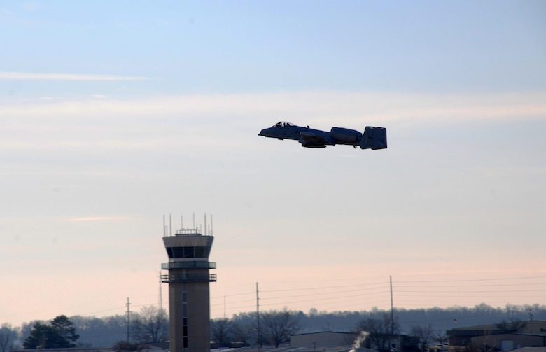 Lt. Col. John Gonzales takes to the sky Feb. 11, 2014, at Ebbing Air National Guard Base, Ark. Gonzales delivered Tail No. 649, a A-10C Thunderbolt II, to Moody Air Force Base, Ga., as part of the 188th Fighter Wing's conversion from an A-10 mission to a remotely-piloted aircraft, intelligence and targeting mission. The 188th FW now has seven A-10s remaining on station, with the last two aircraft are slated to depart in June. Gonzales is a 23rd Operations Support Squadron commander. (U.S. Air National Guard photo/Senior Airman John Hillier)