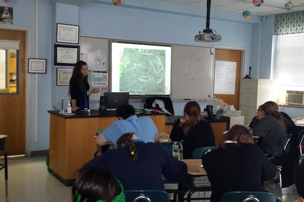 Meagan Chapman, regulatory, presents to Presentation Academy ecology students.