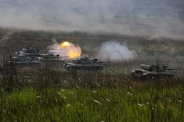 A Royal Thai M60A1 battle tank fires its main gun during a combined arms live-fire exercise as part of exercise Cobra Gold in Training Center Ban Chan Krem, Kingdom of Thailand, Feb. 21. Cobra Gold, in its 33rd iteration, demonstrates Kingdom of Thailand, U.S. and other participating nation commitment to regional partnership, prosperity and security in the Asia-Pacific region. The CALFEX is a field exercise which consisted of Royal Thai, Republic of Korea, and U.S. Marine infantry, mechanized infantry, and air assests to demonstrate unique capabilities of a multinational force.