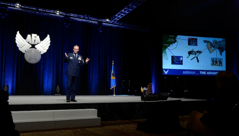 Chief Master Sgt. of the Air Force James A. Cody delivers the enlisted perspective at the 30th Annual Air Force Association Air Warfare Symposium and Technology Exposition Feb. 20, 2014, in Orlando, Fla.  Cody talked about the advantage Airmen bring to the Air Force and the need to preserve that advantage in the future.  (U.S. Air Force photo/Scott M. Ash)