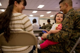 """Cpl. Luis Urquijo and Cpl. Cythnia Urquijo, react to their daughter's laughter during a """"P.S., before you say I do"""" seminar at the Blinder Memorial Chapel, Feb. 19. The Naval Hospital Camp Pendleton hosted the seminar to educate Marines, sailors and their significant others about potential stressors and difficulties that could arise during the early stages of marriage. Luis and Cythnia are administrative clerks with Headquarters and Support Battalion."""