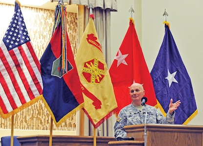 Chap. (Brig. Gen.) Charles Ray Bailey, Army deputy chief of chaplains, speaks to attendees Feb. 13 at Victory Chapel during a chapel dedication and ribbon-cutting ceremony.