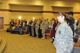 Fort Riley community members sing together Feb. 13 in the sanctuary of the new Victory Chapel during a dedication and ribbon-cutting ceremony for the chapel. The chapel is located near the Forsyth Community at 2560 Trooper Drive. Chapel services are set to begin March 9.