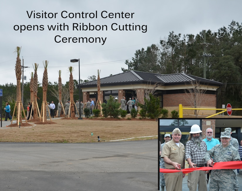Col. Jeffrey DeVore, Joint Base Charleston commander, Navy Capt. Timothy Sparks, JB Charleston deputy commander and Tommy Crowe, BES Construction superintendent, cut the ribbon on the new Visitor Control Center, Feb. 21, 2014, on Joint Base Charleston – Weapons Station, S.C. The new facility, located on Redbank Road, replaces the old Pass and I.D. office previously located inside the Personnel Support Detachment building. (U.S. Air Force Illustration/Eric Sesit)