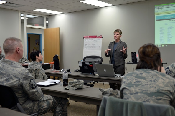 MCGHEE TYSON AIR NATIONAL GUARD BASE, Tenn. - Guest speaker, Charlotte Hu, public web chief for the Air Force Public Affairs Agency in San Antonio, speaks with 18 Airmen in the Public Affairs Managers Seminar here Feb. 10 at the I.G. Brown Training and Education Center. Hu shared her insight and knowledge as the Air Force's leading authority in military web sites and their emergent technology. (U.S. Air National Guard photo by Master Sgt. Kurt Skoglund/Released)