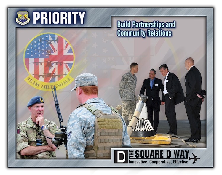 One of the 100th Air Refueling Wing's four priorities is partners - build partnerships and community relations. The 100th ARW is located on RAF Mildenhall, England. (U.S. Air Force graphic by Gary Rogers/Released)