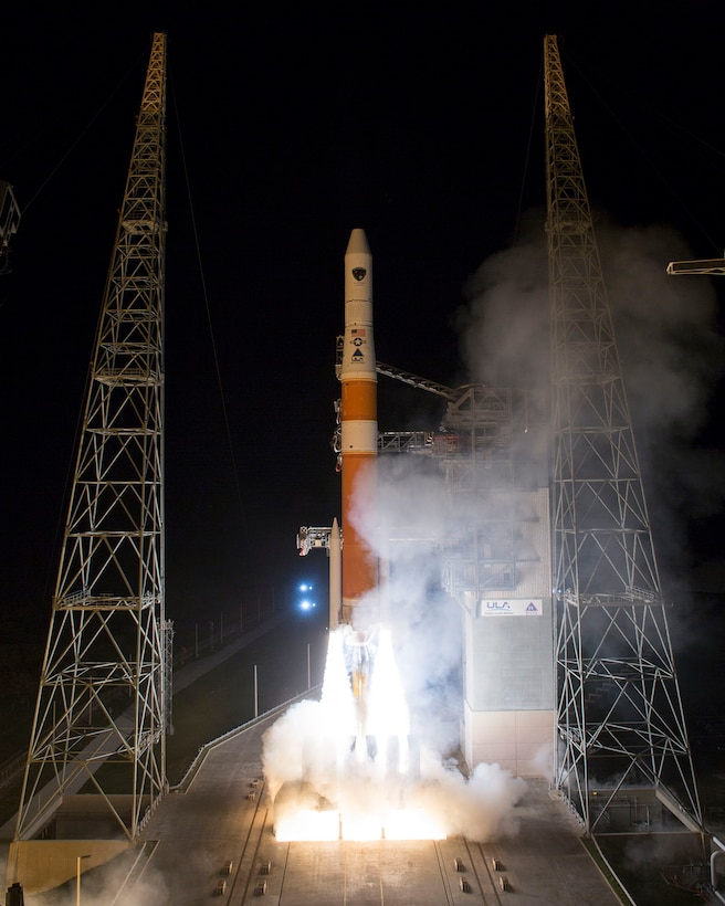 A Delta IV rocket successfully launches the Global Positioning System (GPS) IIF-5 satellite  on Feb. 20 at 8:59 p.m. EST from Space Launch Complex-37. (Photo by Ben Cooper, United Launch Alliance)