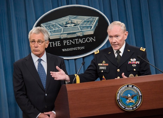 Secretary of Defense Chuck Hagel and 18th Chairman of Joint Chiefs of Staff Gen. Martin E. Dempsey addressed media during a press briefing in the Pentagon Press Briefing Room, Feb. 24, 2014. The focus of the briefing was to layout a proposed Department of Defense budget for the Armed Services. DoD photo by Staff Sgt. Sean K. Harp