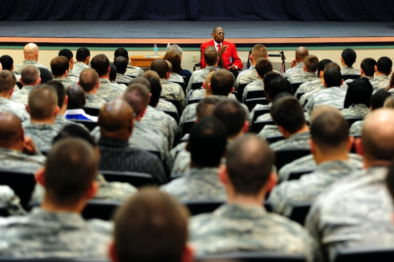 Retired Chief Master Sgt. Walter Richardson speaks to Airmen about his part of Air Force integration as a Tuskeegee Airman at Hurlburt Field, Fla., Feb. 19, 2013. Richardson spoke as part of Black History Month. (U.S. Air Force photo/Staff Sgt. Victoria Sneed)