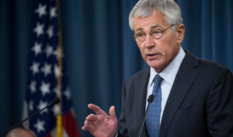 Defense Secretary Chuck Hagel briefs reporters on his recommendations to President Barack Obama for fiscal 2015 budget Feb. 24, 2014, at the Pentagon. (DOD photo/Marine Corps Sgt. Aaron Hostutler)