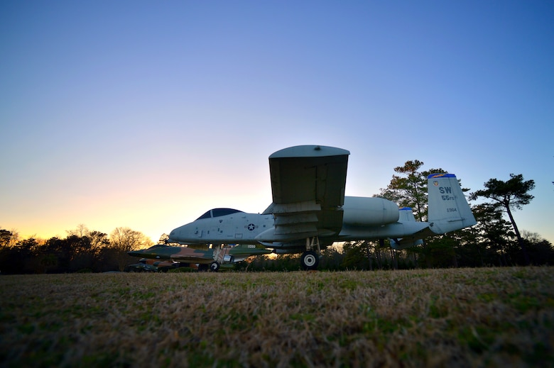 The A-10 Thunderbolt II is displayed in Shaw's Air Park just inside the main gate, Feb. 25, 2014, Shaw Air Force Base, S.C. The A-10 was assigned to the 55th Fighter Squadron here at Shaw from 1994 to 1996. The Department of Defense has proposed eliminating the aircraft from the Air Force arsenal due to budget cuts. Regardless of the outcome, Team Shaw is proud to display the aircraft for all to see and the A-10 will always have a home at Shaw. (U.S. Air Force photo by Staff Sgt. Kenny Holston/Released)