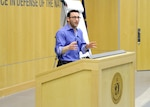 "Author Simon Sinek spoke to the DIA workforce Feb. 24 about leadership, human nature and ""eating last."""