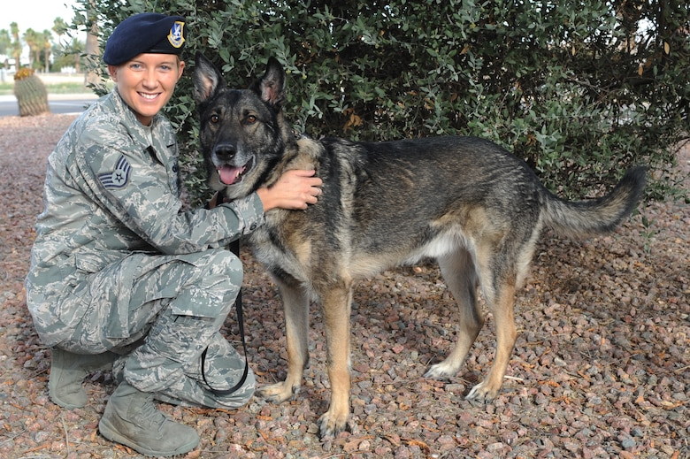 U.S. Air Force Staff Sgt. Alexandra Springman, 355th Security Forces Squadron military working dog handler, and retired military working dog, Dexter, 5-years-old, pose for a photo after his retirement ceremony at Davis-Monthan Air Force Base, Ariz., Feb. 19, 2014. Now that Dexter is a retired service member, he has been approved to reside with Springman as a member of her family. (U.S. Air Force photo by Airman 1st Class Chris Drzazgowski/Released)