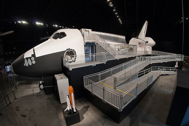 The Space Shuttle Exhibit featuring NASA's first Crew Compartment Trainer (CCT) in the Cold War Gallery at the National Museum of the U.S. Air Force. (Photo courtesy of Rob Clements, Display Dynamics, Inc.)