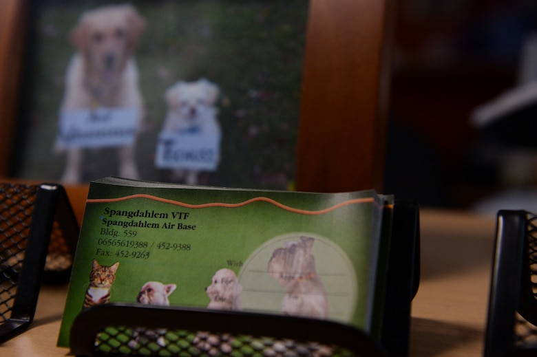 Business cards are displayed at the front desk of the veterinarian clinic Feb. 25, 2014, at Spangdahlem Air Base, Germany. The clinic only cares for dogs and cats, and treats more than 20 furry patients a day. (U.S. Air Force photo by Senior Airman Rusty Frank/Released)