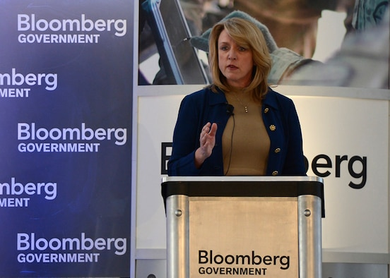 Secretary of the Air Force Deborah Lee James addresses attendees of the Bloomberg Government Defense Summit at the Ronald Reagan Federal Building in Washington, D.C., Feb. 26, 2014. James discussed upcoming Air Force transformation efforts over the next several fiscal years.  (U.S. Air Force photo/Scott M. Ash)