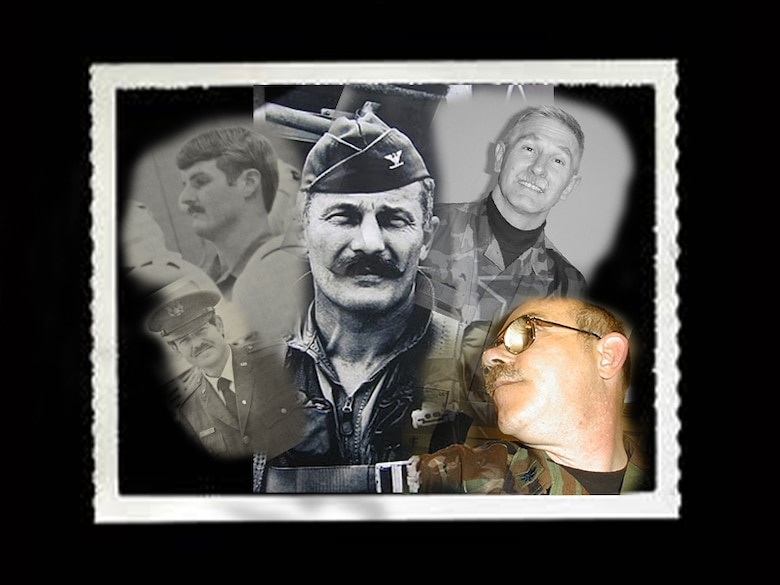 "Triple ace fighter pilot, Brigadier General Robin Olds, center and former members of the 507th sport their mustaches throughout the years.  ""Mustache March"" is a way to honor our heritage and our pride while having some fun and getting made fun of in many cases.  (U.S. Air Force Photo illustration/Senior Airman Mark Hybers)"