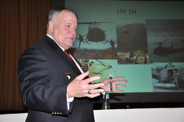 Retired Lt. Col. Michael Sloniker shares his service heritage with approximately 200 members of the 552nd Air Control Wing and other members of Tinker Feb. 20 in the Team Tinker Auditorium. (Air Force photo by Darren D. Heusel)