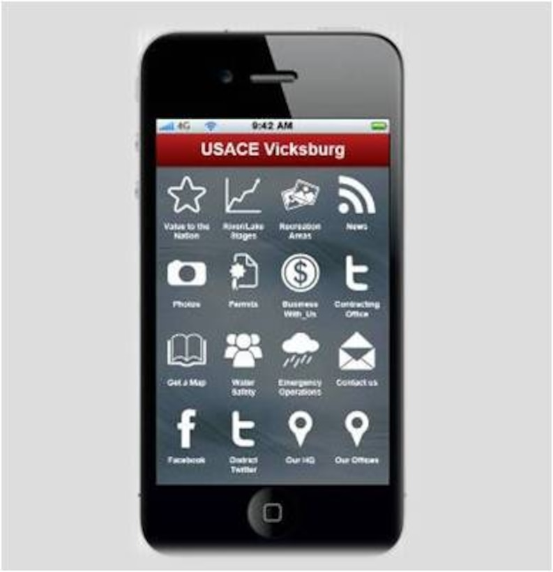 The U. S. Army Corps of Engineers Vicksburg District has released a FREE app for your cellphone or tablet. The app is a great source for learning about the services offered by the District.