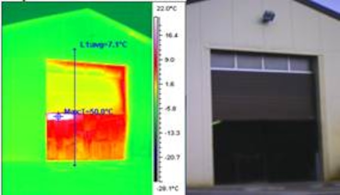 When a window or door remains open for an extended period of time, up to $11,000 in energy costs can be wasted. The heat index in this thermal image displays the heat released from an open maintenance bay door on Spangdahlem Air Base, Germany. The 52nd Civil Engineer Squadron environmental section works to increase awareness of energy efficiencies to protect the environment and save money. (U.S. Air Force photo illustration/Released)