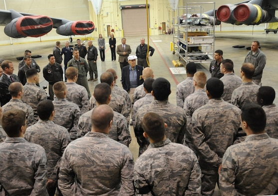 Retired Lt. Col. Richard Cole speaks with Airmen from the 2nd Aircraft Maintenance Squadron about his experiences as a Doolittle Raider copilot Dec. 30, 2013, at Barksdale Air Force Base, La. During his visit, Cole toured the Global power Museum, a B-52H Stratofortress and met with Airmen. (U.S. Air Force/Staff Sgt. Sean Martin)