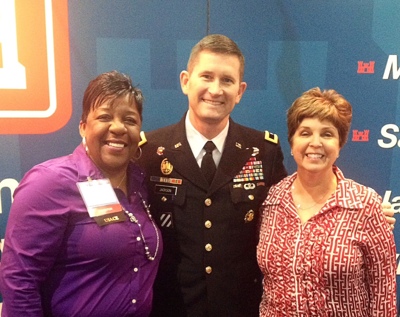 Veronica Taylor (left), contract specialist, Brig. Gen. Donald E. Jackson, Jr., South Atlantic Division commander and Beth Myers (right), deputy for the Small Business Programs Office represented the Corps at the Small Business Conference in Kansas City, Mo. in April.