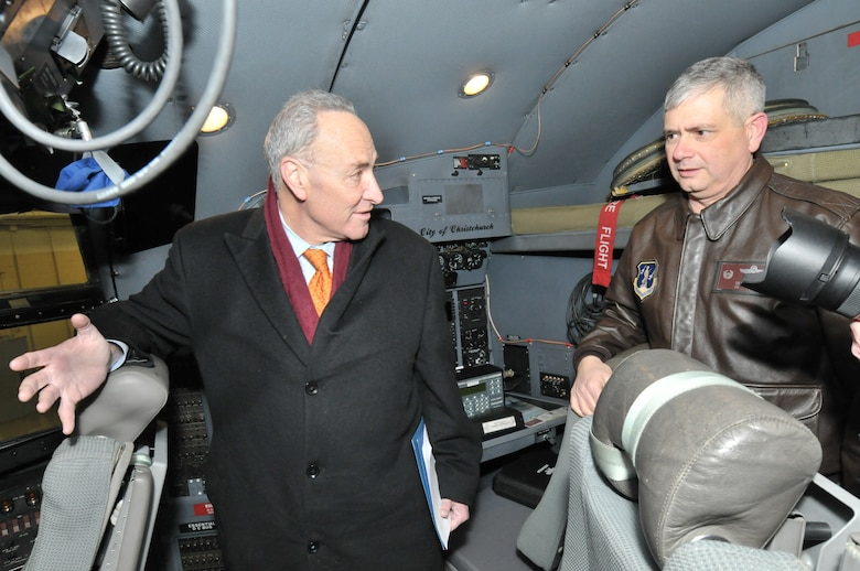 SCOTIA, N.Y. -- Sen. Charles Schumer tours the cockpit of a 109th Airlift Wing LC-130 Skibird with Col. Shawn Clouthier, 109th AW commander, Jan. 3. Schumer visited the base to show support of the unit's unique mission and in preparation for the upcoming appropriations debate in the Senate. (Air National Guard photo by Master Sgt. William Gizara/Released)