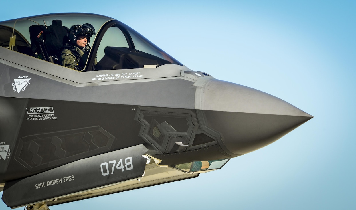 An Air Force F-35 Lightning II pilot prepares to refuel Dec. 12, 2013, at Eglin Air Force Base, Fla. The F-35 is a fifth-generation fighter, combining advanced stealth with fighter speed and agility, fully fused sensor information, network-enabled operations and advanced sustainment. (U.S. Air Force photo/Senior Airman Christopher Callaway)