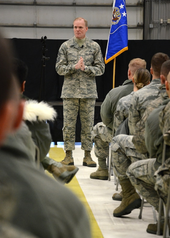 PEASE AIR NATIONAL GUARD BASE, N.H. -- Chief Master Sgt. of the Air Force James Cody addresses airmen Jan. 4, 2014, on Pease Air National Guard Base during an all-call session. Chief Cody opened the session with brief remarks then fielded several questions concerning enlisted members across the Air Force and Air National Guard. The Air Force's most senior enlisted member visited Pease ANGB to speak with enlisted Airmen and observe the unique capability they provide to the state of New Hampshire and the Air Force. (N.H. National Guard photo by Airman 1st Class Kayla M. McWalter/Released)