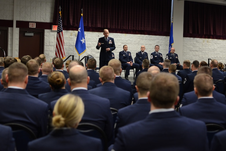 Maj. Gen. Donald P. Dunbar, the adjutant general of Wisconsin, speaks to Hometown Hero Award recipients during a Hometown Hero Awards ceremony at Volk Field Combat Readiness Training Center, Volk Field, Wis., Jan. 4.  Maj. Gen. Donald P. Dunbar, the adjutant general of Wisconsin, spoke of the pride he has for these Airmen. Each took an award home for their support of Operation Noble Eagle, Operation Enduring Freedom and Operation Iraqi Freedom. (Air National Guard photo by Senior Airman Andrea F. Liechti)