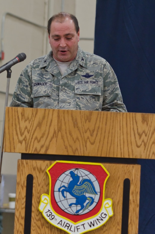 Col. Ralph Schwader, 139th Airlift Wing commander, speaks to members of the Wing after receiving command of the Wing on Jan. 5, 2014 at Rosecrans Air National Guard Base, St. Joseph, Mo.  (U.S. Air  National Guard photo by Senior Airman Sheldon Thompson)