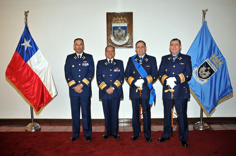 Chilean Air Force Maj. Gen. Álvaro Aguirre, Lt. Gen. Jorge Robles, Maj. Gen. Arturo Silva, and Comodoro Roberto Avendaño pose for a photo.  These four previous Chilean liaison officers to 12th Air Force (Air Forces Southern) are being promoted to key positions within the Chilean Air Force.  (Courtesy Photo/Released)