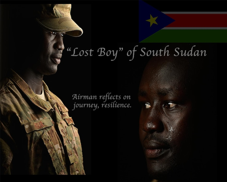 """U.S. Air Force Staff Sgt. Deng Pour reflects on his journey from being one of the """"lost boys"""" of Sudan to becoming an American Airman. Pour is currently deployed to the Combined Joint Task Force - Horn of Africa as the religious affairs non-commissioned officer in charge. (U.S. Air Force photo by Staff Sgt. Antoinette Gibson/Released)"""