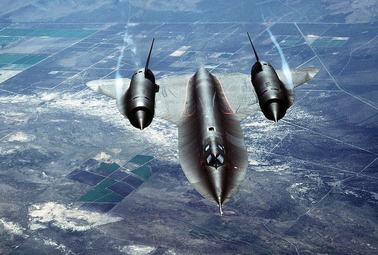 A SR-71 Blackbird soars above northern California. The Blackbird arrived at Beale Air Force Base, Calif, Jan. 7, 1966. (Courtesy photo)