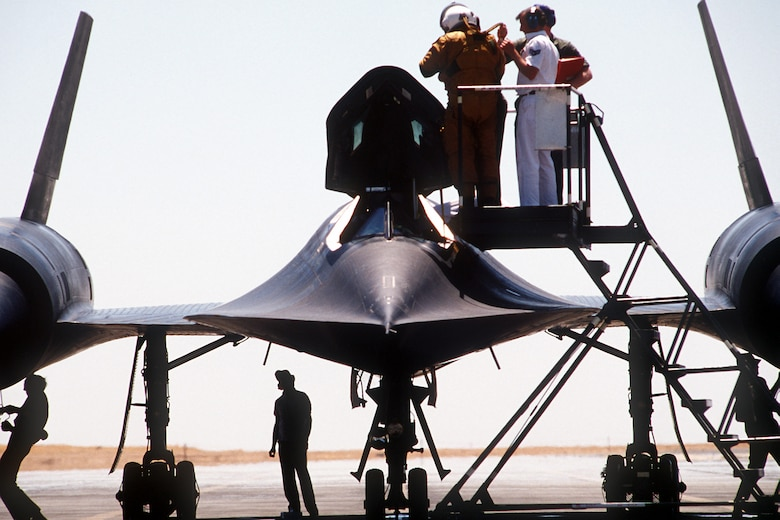 A SR-71 pilot perpares for a flight at Beale Air Force Base, Calif. The Blackbird arrived at Beale, Jan. 7, 1966. (Courtesy photo)