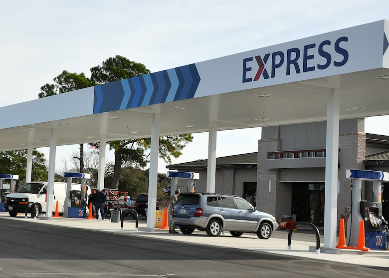 The self-service gas pumps at the new Express opened Jan. 3, at Tyndall. The new gas pumps offer more dispensers for customers.(U.S. Air Force photo by Ashley M. Wright)