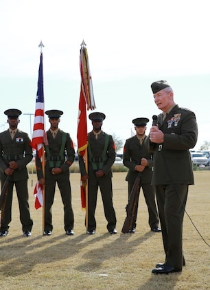 Lieutenant Gen. John Toolan, commanding general of I Marine Expeditionary Force, addresses the audience during an award ceremony for Staff Sgt. Timothy Williams, a section leader with 1st Reconnaissance Battalion, held at Camp Las Flores, Marine Corps Base Camp Pendleton, Calif., Jan. 7, 2014. During the ceremony, the Silver Star Medal and Purple Heart were awarded to Williams, a native of Hudson, Mich. Williams was recognized for his heroic actions in Afghanistan when he maintained a tactical advantage while being ambushed by a larger enemy force. Williams helped save the lives of multiple Marines and destroyed several enemy positions during the 10 hour attack. (U.S Marine Corps photo by Lance Cpl. Jonathan Boynes/released)