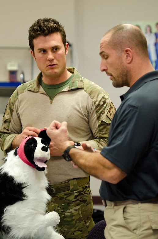Thomas Barrett (right), a civilian paramedic and K9 medic trainer, speaks to Senior Airman Andrew Zina, a pararescueman from the Kentucky Air National Guard's 123rd Special Tactics Squadron, about how to properly bandage and care for a military working dog that is wounded on the battlefield during a training course Dec. 5, 2013, at Jefferson Community College in Shelbyville, Ky. Barrett is one of 10 Kentucky Air Guard pararescuemen who learned to treat military working dogs during the two-day course. (U.S. Air National Guard photo by Master Sgt. Phil Speck)