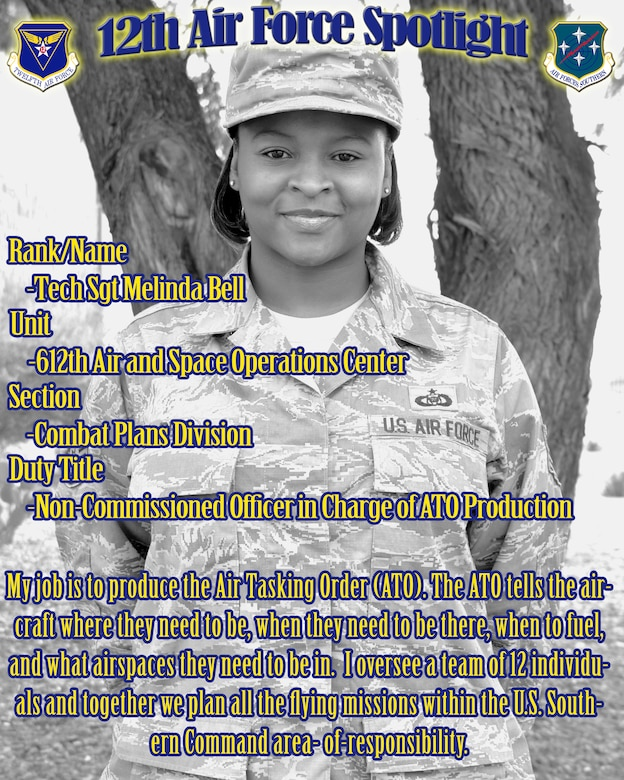 Tech Sgt. Melinda Bell, assigned to the 612th Air and Space Operations Center, is highlighted in this week's 12th Air Force (Air Forces Southern) spotlight. (U.S. Air Force Graphic by Staff Sgt. Heather Redman/Released)