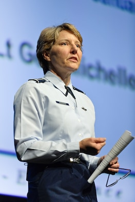 U.S. Air Force Academy Superintendent Lt. Gen. Michelle D. Johnson speaks to Academy Airmen at a Superintendent's Call Jan. 7 at the Arnold Hall Theatre. At the event, the general spoke on how the Academy can maintain it's leading edge in an era of fiscal constraints and other challenges./U.S. Air Force photo by Elizabeth Copan
