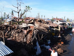The devastation left after the Philippines earthquake and Super Typhoon Haiyan in late 2013. Capt. Neil Bucken, supply officer for 12th Marine Corps District, volunteered to help with relief efforts with All Hands Volunteers Organization for 12 days.