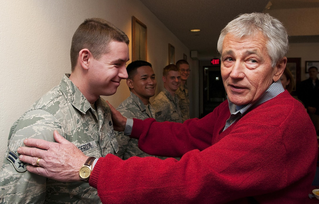 Defense Secretary Chuck Hagel reacts as he hears that Airman 1st Class Alexander Ferdon, a 790th Missile Security Forces Squadron, was born in Omaha, Neb. Hagel toured the 319th Missile Squadron's Missile Alert Facility Echo-01 in Kimball County, Neb., Jan. 9, 2014 as part of a familiarization visit to F.E. Warren Air Force Base, Wyo., and the 90th Missile Wing. Hagel is a former U.S. senator from Nebraska. (U.S. Air Force photo/R.J. Oriez)