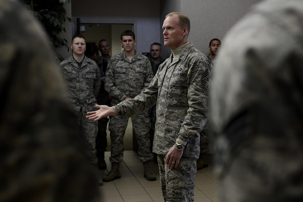 Chief Master Sgt. of the Air Force James A. Cody speaks to the 1st Operations Squadron Jan. 7, 2014, during his tour of Langley Air Force Base, Va. Cody visited multiple wings and discussed force management issues, budget concerns and the future of the enlisted force with Airmen. (U.S. Air Force photo/Airman 1st Class Areca T. Wilson)