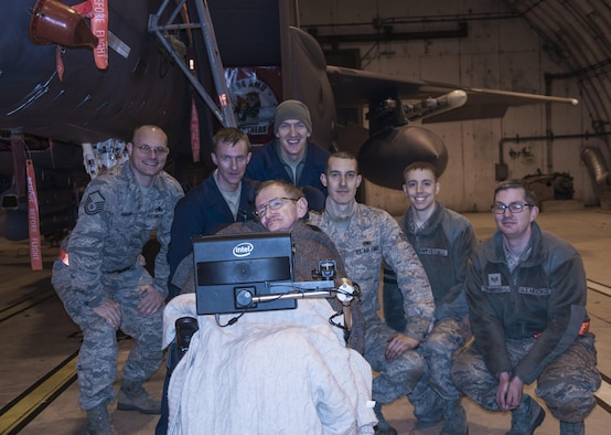 Members of the 48th Aircraft Maintenance Squadron, welcome Professor Stephen Hawking, University of Cambridge professor and best-selling author, Dec. 29, 2013, to Royal Air Force Lakenheath, England. Hawking had coordinated the visit through his friend, the widow of a retired master sergeant. (Courtesy photo/Jerry Neild)
