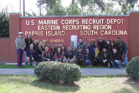 Educators from across Long Island and NYC pose for a photo with Sgt. Maj. Rufino Mendez, Recruiting Station New York Sergeant Major, before departing Marine Corps Recruit Depot Parris Island at the conclusion of an Educators Workshop held Dec. 10-13. The workshop gives educators the opportunity to see Marine Corps recruit training firsthand and learn about the numerous opportunities available to young men and women joining the Marine Corps.